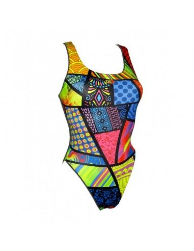 Woman Swimsuit DS PATCHWORK- Excellent chlorine resistance, wide strap.