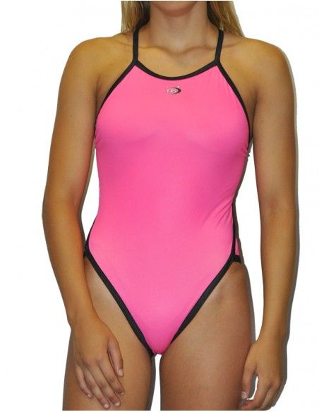 Woman Swimsuit DS FLUOR ROSA - Excellent chlorine resistance, thin strap.
