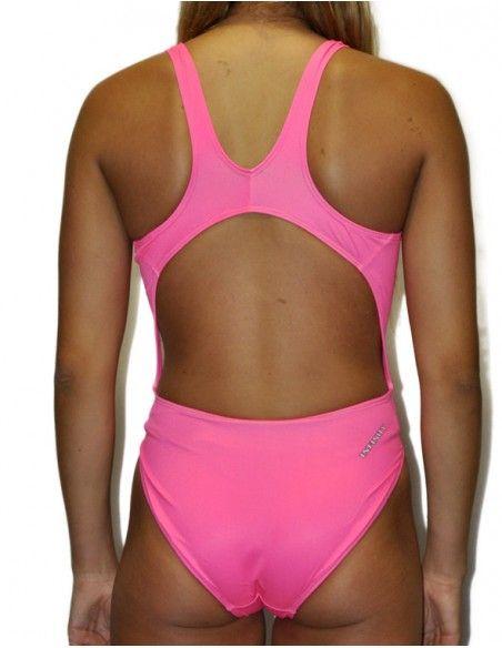 Woman Swimsuit DS FLUOR ROSA- Excellent chlorine resistance, wide strap.