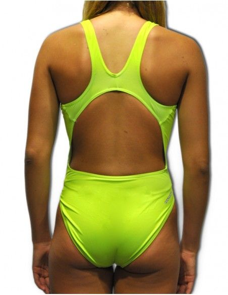 Woman Swimsuit DS FLUOR VERD- Excellent chlorine resistance, wide strap.