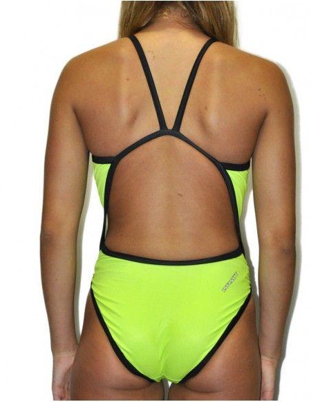 Woman Swimsuit DS FLUOR VERD- Excellent chlorine resistance, thin strap.