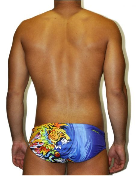 MEN'S WATERPOLO DS SWIMSUIT MANGA LION, Double-layered & excellent chlorine resistance.