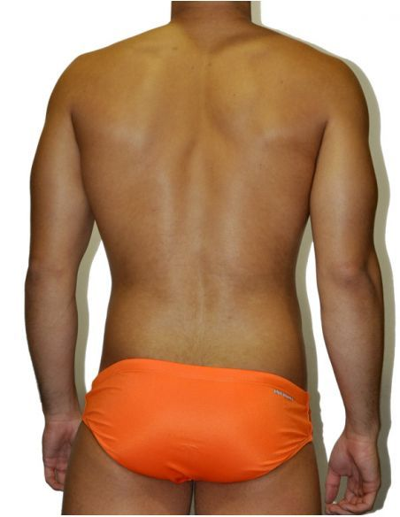 MEN'S WATERPOLO DS SWIMSUIT TARONJA FLUOR, Double-layered & excellent chlorine resistance.